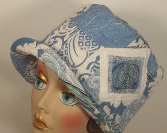 Cotton, cloche hat, blue, 1920s, Art Deco, chemo, fashion, vintage style, designer, size Med.  Free shipping in USA.