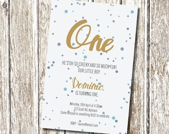 Blue and Gold Birthday Invitation - Printable and Personalised