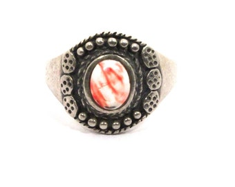 Blood Drop Ring Sterling Silver Size 9 ITEM ME921EE