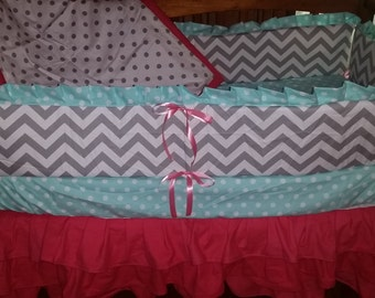 Chevron and Sorbet/Cotton Candy Crib bedding set ( Coral, Aqua green and Gray)
