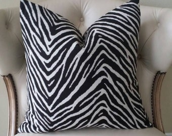 Black and White Zebra Print Pillow Cover