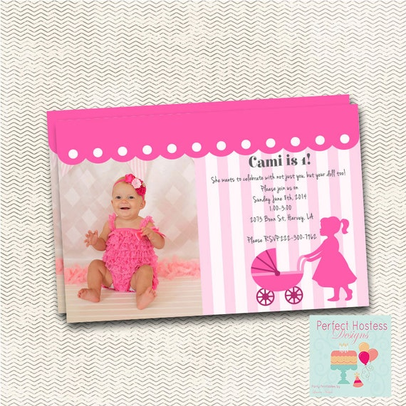 Baby Doll Brunch Birthday Party Invitation with Picture – Doll Party Invitations