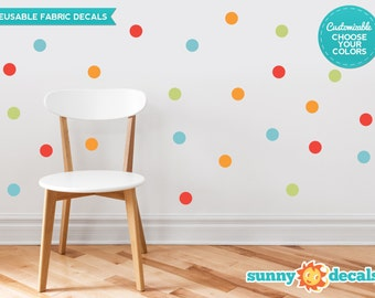 """Polka Dot Fabric Wall Decals for Nursery and Kids Rooms - Set of 48 - 2"""" Polka Dots in 4 Colors - Custom Options Available - by Sunny Decals"""