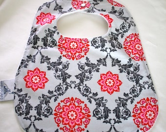 Cotton and Chenille Bib - Pink and Gray, Floral Damask - Pearl Snap Closure, Baby Gift, Feeding, Nursing, Baby Shower