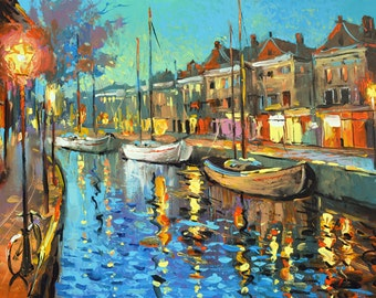 "Nights Music - Wall Art. Contemporary Art  Palette Knife Oil Painting by Dmitry Spiros. Size: 24""x32"" (60x80cm)"