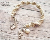 Natural hemp bracelet with seahorse charm and white pearl