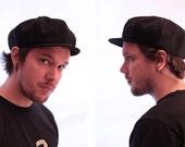 Newsboy Hat in Black Tweed