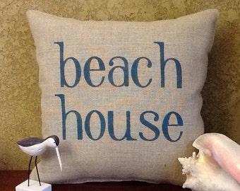 Beach House Stenciled Burlap Pillow