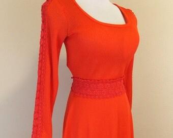 Price Reduced** 1970's Bright Red Toni Todd Maxi Dress