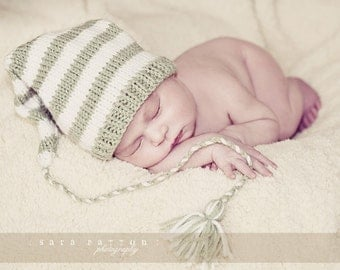 Newborn Knit Baby Hat Pixie Elf  Long Tail Stocking Cap Toque Pastel Light Gray White Baby Gift or Baby Photo Prop