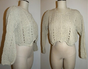1980's 80s Sweater / Slubby / Cotton / Crochet / Open Knit / Oversized / Slouch / Crop / Taupe / Vintage / Small