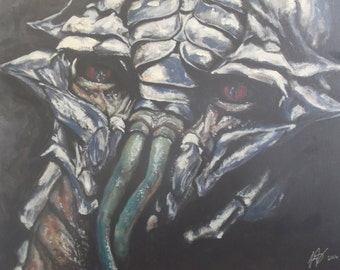 District 9 Prawn Acrylic on Canvas Painting.  Christopher Johnson Sci Fi Alien South Africa Spaceship UFO  Neill Blomkamp