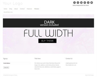 Full Width - Premade Responsive Wordpress Theme  - Instant Download - Website and Blog Template