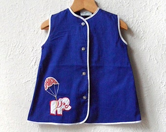Nelly The Elephant - 1970's Blue Smock - Age 9 to 18 months