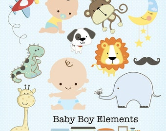 Baby Boy Clipart.  Baby Boy Elements. Digital Scrapbooking. Project Life. Instant Download.