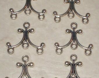6 Antiqued Silver Chandeliers/Connectors -3 Prs
