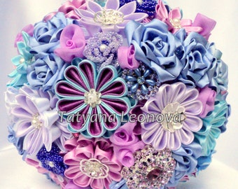 "Fabric Wedding Bouquet, Brooch bouquet ""Muse"" Blue, Azure, Purple and Lilac, 9"""