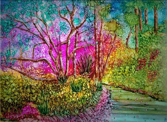 Alcohol ink art original painting garden path for Painting while drinking wine