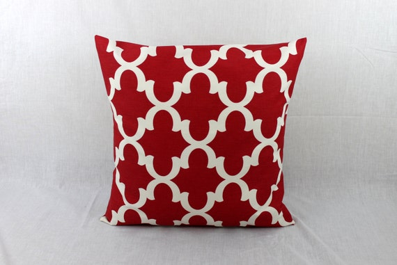 Red Pillow Couch Pillow Cover Gray Throw Pillow By