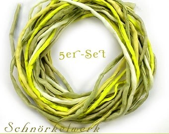 """5 Silk Ribbons """"Pistachio"""" 1 meter, rolled and sewn, hand colored, 05 Ponge Silk"""