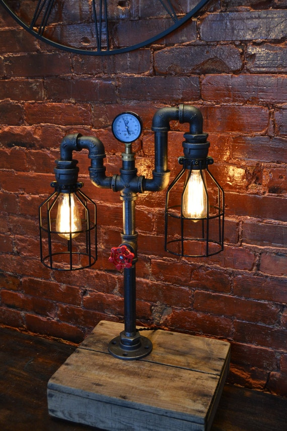 industrial pipe lamp pipe light table lamp by westninthvintage. Black Bedroom Furniture Sets. Home Design Ideas