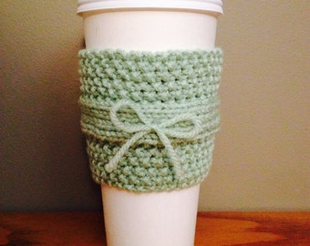 handmade knitted coffee cozy (in green)