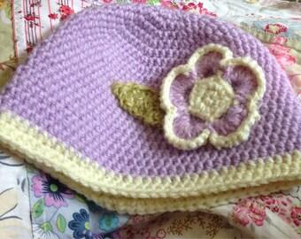 Girls Flower Applique Hat