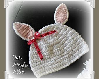 Bunny Ear Crochet Hat. Baby Bunny Ears, Stand Up Bunny Ear Hat