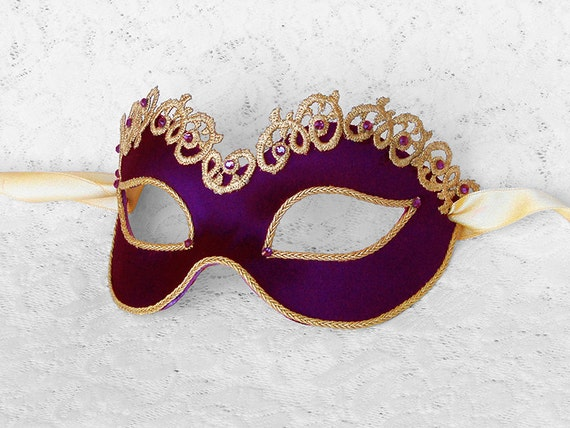 Reserved Listing For Martha - Deep Purple And Gold Masquerade Mask With Rhinestones