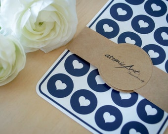 24 Heart Stickers in Midnight Navy Blue - Handmade Envelope Seals - Wedding invitations & favours - Cupcake Toppers - Hershey Kiss Sticker