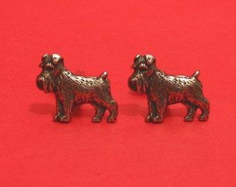 Miniature Schnauzer Dog Design Pewter Cuff-links Gift Boxed Schnauzer Owner Gift