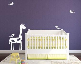Nursery Decal with Giraffe and Cute Birds