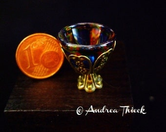 Miniature glass bowl in metall stand No. 2 - blue red... -  1:12 scale  OOAK