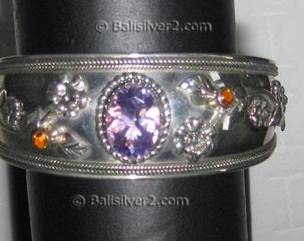Sterling ,Silver, bracelet,Gemstone, Natural Amethyst, Natural Citrine,cuff  bracelet. Reduced Price