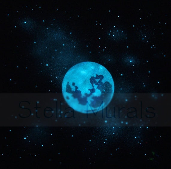 Glow In The Dark Moon And Stars Night Sky Poster Full Moon