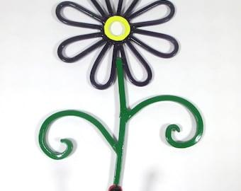 flower wall hook metal handpainted dark purple daisy