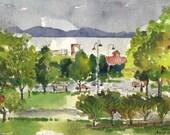 """Original watercolor painting, ink drawing, Burlington Vermont, landscape, Lake Champlain, 7x10"""""""