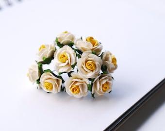 Paper Flower, 50 pieces, size 2 cm. mini rose 2 tone Yellow color.