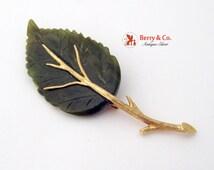 Leaf Form Brooch Carved Nephrite Jade Gold Tone Metal