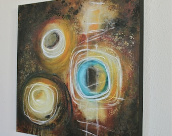 abstract circles painting turquoise yellow brown original geometric modern art Transcend Leah Fitts