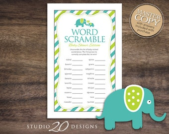 Instant Download Teal Elephant Word Scramble Baby Shower Game Cards, Printable Word Scramble, Teal Lime Elephant Baby Shower Game #22A