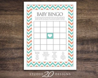 Instant Download Teal Coral Bingo, Teal Chevron Baby Shower Games, Teal Coral Chevron Baby Bingo, Turquoise Chevron Baby Shower 60B