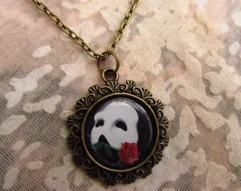 Phantom of the Opera Bronze Mask Necklace
