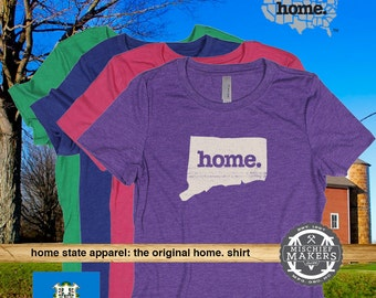Connecticut Home. T-shirt- Womens Red Green Royal Pink Purple
