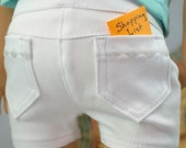 Summer WHITE SHORTS Pants Denim Twill with Four Working Pockets and Stitching Details for American Girl or 18 Inch Doll