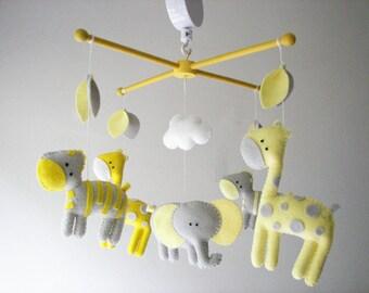 """Baby crib mobile, safari mobile, animal mobile, felt mobile """"I'm in Safari 2 - Gray, Lemon"""" - Elephant, Giraffe, Zebra"""