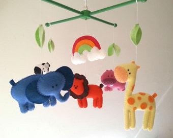 "Baby crib mobile, safari mobile, animal mobile, felt mobile ""Let's go to the Zoo 6"" - Elephant, Lion, Giraffe, Zebra, Hippo"