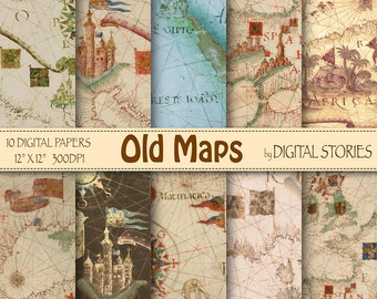 """Vintage maps digital paper: """" OLD MAPS"""" with world antique maps for scrapbooking, invites, cards, background"""
