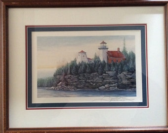 Framed Lighthouse Print Sherwood Point Great Lakes Fred Bridenhagen Fine Art  Signed Print