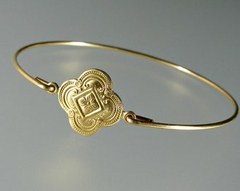 Gold Medallion Bangle Bracelet, Gold Bangle Bracelet, Gold Bracelet (188G,)